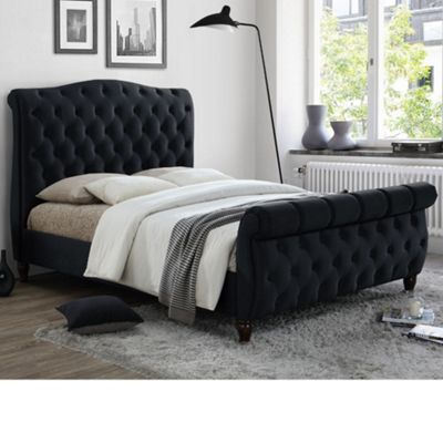 Happy Beds Colorado Velvet Fabric Scroll Sleigh Bed with Open Coil Spring Mattress - Black - 5ft King