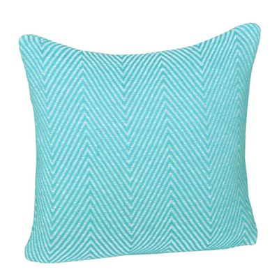 Homescapes Cotton Teal Halden Chevron Cushion Cover, 45 x 45 cm