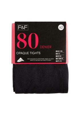 F&F 80 Denier Opaque Tights Black S