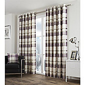 Fusion Balmoral Check Plum Lined Curtains - 66x54 Inches