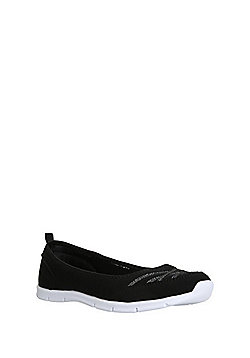 F&F Active Ballerina Slip-On Plimsolls - Black