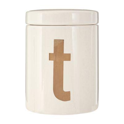 Premier Housewares Mono Tea Canister, White Gold