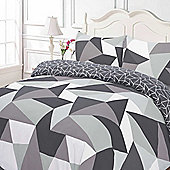 Duvet Cover with Pillow Case Set, Geometric Shapes Black Grey - Black & White