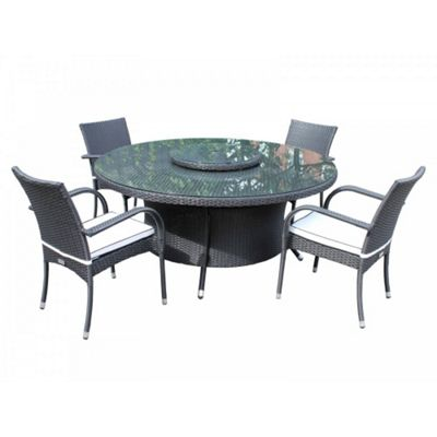 Roma 4 Chairs And Large Round Table And Lazy Susan Set in Black and Vanilla