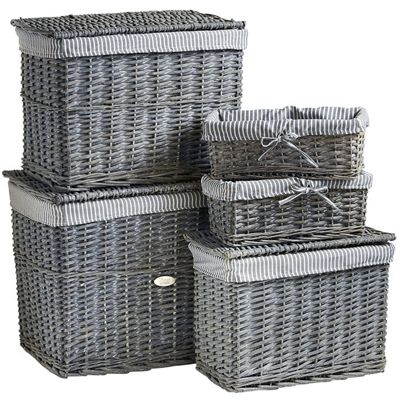 VonHaus 5 Piece Grey Wicker Storage Basket U0026 Hamper Trunk Set