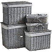 VonHaus 5 Piece Grey Wicker Storage Basket & Hamper Trunk Set
