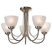 Litecraft Roma 5 Bulb Semi Flush Ceiling Light, Antique Brass