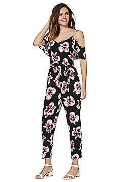 F&F Orchid Print Cold Shoulder Jumpsuit - Pink/Black