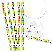 Football Pencils School Set for Children - Fun Party Bag Filler Loot Gifts for Kids (Pack of 6)