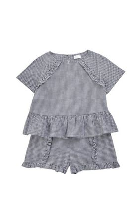 F&F Woven Gingham Top and Shorts Set Navy/White 9-10 years