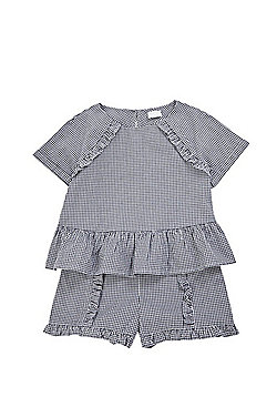 F&F Woven Gingham Top and Shorts Set - Navy/White