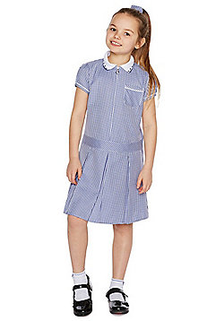 F&F School 2 Pack of Easy Care Plus Fit Gingham Dresses with Scrunchies - Blue