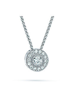 REAL Effect Rhodium Plated Sterling Silver White Cubic Zirconia Circles Charm Pendant - 16/18 inch