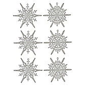 Pack of 6 Silver Glitter Snowflake Ornaments 11cm