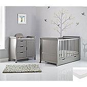 Obaby Stamford 2 Piece + Pocket Sprung Mattress Nursery Room Set - Taupe Grey