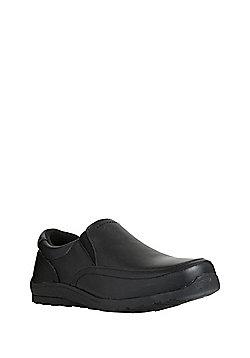 F&F Leather Slip-On School Shoes - Black