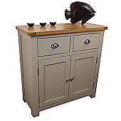 Aspen Painted Sage Grey Small Oak Sideboard / Oak 2 Door 2 Drawer Sideboard