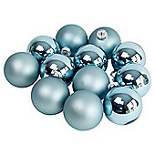 Pack of 12 Blue 8cm Christmas Tree Glass Bauble Decorations