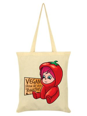 Vegan From My Head To Ma Toes Tote Bag 38 x 42cm, Cream
