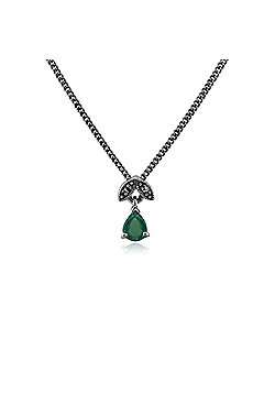 Gemondo Sterling Silver 0.27ct Emerald & Marcasite May 45cm Necklace
