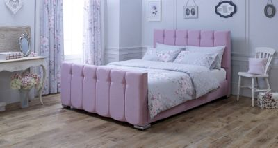 Catherine Lansfield Canterbury Pink Sleigh Bed - Single