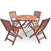 VonHaus 5 Piece Outdoor Wooden Dining Set – Circular Table and 4 Chair Dining Set – Made from 100% Hardwood