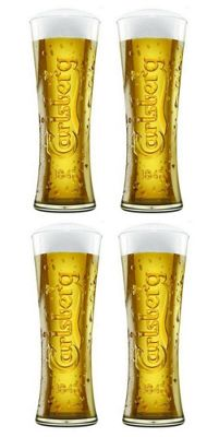 Carlsberg Official Lager Beer Glass Clear Tall Pint 570ml Set of 4