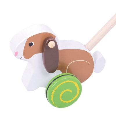 Bigjigs Toys Wooden Rabbit Push Along - Walking Toys for Babies and Toddlers