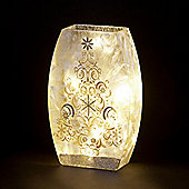 Glass Glitter Vase with Tree Decoration and Warm White LEDs 24cm
