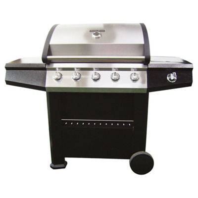 Mastercook 5 Burner Gas Grill BBQ with Side Burner, Black