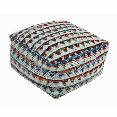 Homescapes Large Cream Chindi Design Square Bean Filled Pouffe