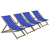 Harbour Housewares Traditional Adjustable Wooden Beach Garden Deck Chair - Royal Blue - Pack of 4