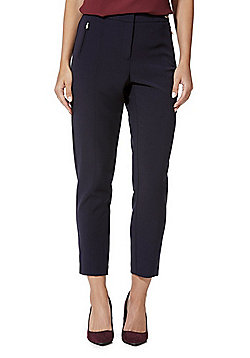 F&F Premium Ankle Grazer Slim Leg Trousers - Navy