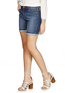 F&F AuthenticTurn-Up Mid Rise Shorts - Denim