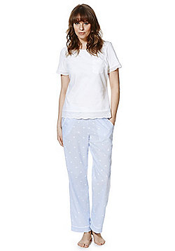 F&F Broderie Anglaise and Floral Pyjamas - White & Blue