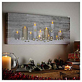 Light Up Landscape Candle Scene Christmas Canvas
