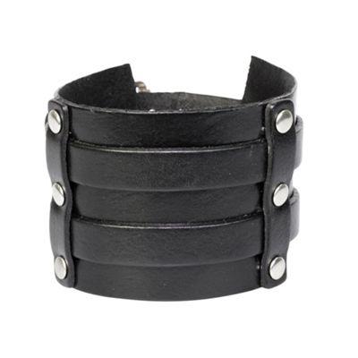 Black Leather Wide Cuff Style Men's Bracelet