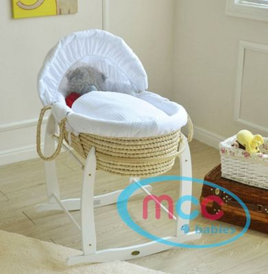 palm Moses Basket With Mattress, Cover and Rocking Stand (White)