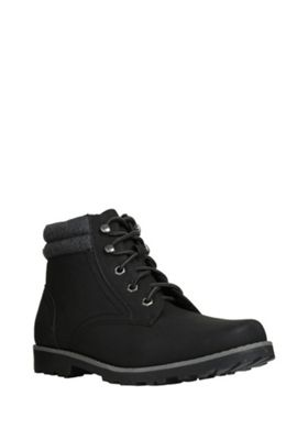 F&F Borg Lined Lace-Up Boots Adult 6 1/2 Black