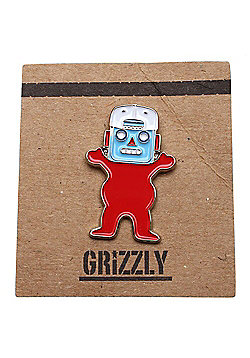 Grizzly Robo Bear Pin Badge - Red