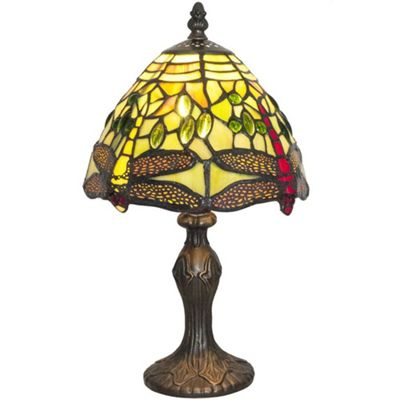 Hand Crafted Green Stained Glass Dragonfly Tiffany Lamp