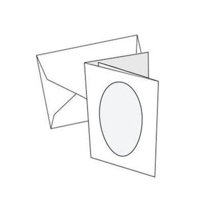 Cards 2/Fold Mini White with oval apeture- 10 Pk