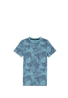 F&F Striped Palm Leaf T-Shirt Blue 5-6 years