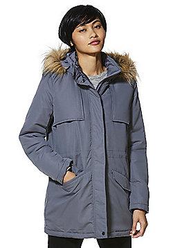 Vila Hooded Parka Jacket - Grey