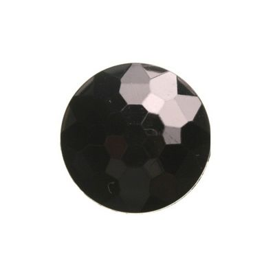 Hemline Black Faceted Shank Buttons 26mm 3pk
