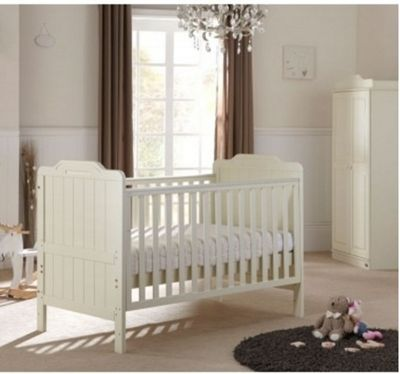 Tutti Bambini Alexia 3 Piece Cotbed/ Wardrobe Sprung Mattress Room Set - Vanilla