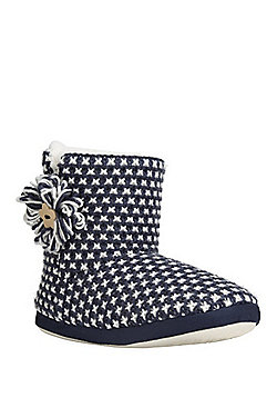 F&F Cross Knit Bootie Slippers - Navy & Cream