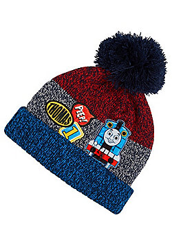 Thomas & Friends Badge Detail Knitted Bobble Hat - Blue