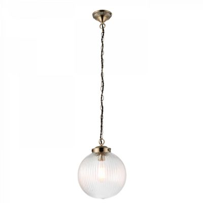 Clear Ribbed Glass & Antique Brass Finish 1lt Pendant 40W