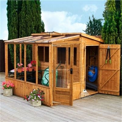 8 x 8 Sutton Premier Tongue & Groove Combi Pent Shed + Greenhouse Garden Wooden Shed 8ft x 8ft (2.44m x 2.44m)